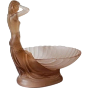 REDUCED 1930s German Art Deco 2 Part Pink Glass Mermaid & Shell Bowl Center Piece by Walth