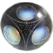 LARGE diameter opalescent glass bowl by Sabino, France. 1930s Art Deco. Fully Signed.
