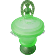 Scarce 10 inch Spring Nymph uranium glass jar & cover by L. E. Smith, USA 1930s ...