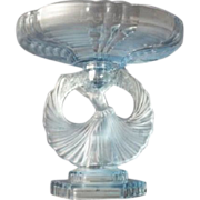 Gorgeous 1930s Art Deco Blue Glass Dancing Lady & Pegged Bowl comport display