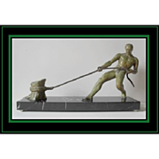 Salvator Riolo signed Bronze 1930s French Art Deco nude male sculpture