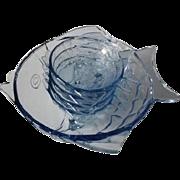 Bohemian Art Deco electric blue glass 5 piece Fish Bowl set by Stolzle