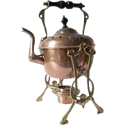 Antique Art Nouveau copper metal spirit kettle complete with brass stand & burner.