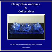 SALE PENDING A Charming English Art Deco 1930s  - 1940s Blue Glass Trinket  Vanity Set