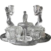 Adorable 1930s Art Deco 10 piece crystal glass trinket / vanity set. MINT CONDITION
