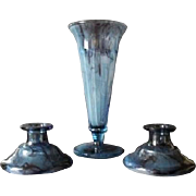 Beautiful 1930s English Art Deco cloud glass vase and candlesticks by George Davidson