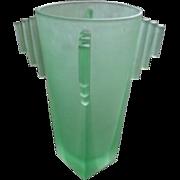 SALE PENDING Mega Super Rare English Art Deco Uranium Glass York Pattern Vase by Bagley