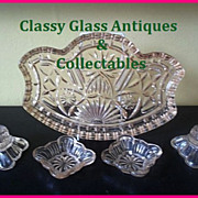 SOLD 1950s Pink Glass Vanity Set / Trinket Set by Crystalor England designed by Rosice