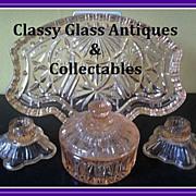 SOLD Vintage Original 1950s Glass Vanity Set / Trinket Set by Crystalor / Rosice