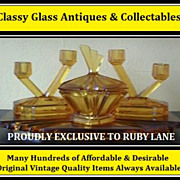 REDUCED Original 1930s English Art Deco Amber Depression Glass Vanity Trinket Set by Bagley