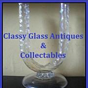 REDUCED Pre -1920s Bohemian Free Blown Opal - Lustre Glass Vase