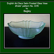 REDUCED English Satin Frosted Glass Vase by Bagley. Bristol pattern 3145