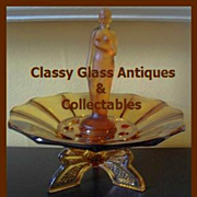 SOLD A Beautiful & Stylish Art Deco Amber Glass Center Piece by S Muller & Co.