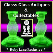 REDUCED SEVEN PIECE 1930's English Art Deco Vibrant Uranium Green Glass Vanity Set / Trinket S