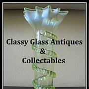 REDUCED Thomas Webb, English Victorian Uranium Vaseline Glass Vase. MINT!