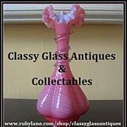 REDUCED Antique English Victorian Pink-Rib Cane Cased Crystal Class Vase. Stourbridge. c1880's