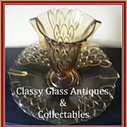 REDUCED 1930s Art Deco Amber Depression Glass Two Part  Vase & Dish Center Piece by Stolzle