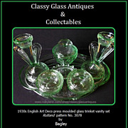 REDUCED Bagley 1930's Art Deco Green Glass Trinket Set / Vanity Set. Rutland Pattern
