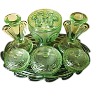 REDUCED SCARCE Bagley glass Flower Set Rutland pattern Trinket set / Vanity Set