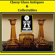 REDUCED Uncommon Art Deco Glass Trinket Set / Vanity Set by Bagley, England.