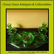 REDUCED Czechoslovakian Produced * Brockwitz, Germany, Pattern * Art Deco Uranium Glass Trinke