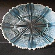 SOLD George Davidson & Co. England. Large Oval Pearline, Opalescent Glass Dish circa 1888