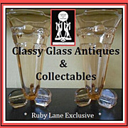 REDUCED A Sensational PAIR of Bohemian Art Deco Pink Glass Vases by Stölzle, Czechoslovakia.