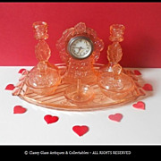 REDUCED Walther & Sohne 'Waltraut' Pink Glass Clock 8 Piece German Art Deco Trinket Set / Vani