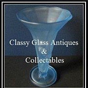 SOLD 1930s Bohemian Art Deco Satin Frosted Blue Glass Figural Lady Vase