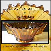 REDUCED Big & Beautiful  Brockwitz Amber Glass Art Deco Bowl With Wing Handles