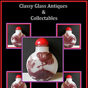 REDUCED Cameo Carved Liu Li Peking Glass Snuff Bottle in Amethyst over White Opal - Qing Dynas