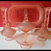 Legendary Chinapressing Art Deco Press Moulded Glass Trinket Vanity Set by Brockwitz COMPLETE