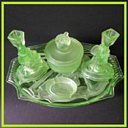 REDUCED Phenomenal German Art Deco Uranium Depression Glass Vanity Set / Trinket Set - By ...
