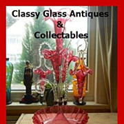 SOLD TEN Piece Antique English Victorian Cased Crystal Ruby Red Glass - Cranberry Glass Epergn