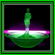 REDUCED German Art Deco Uranium Green Glass Complete 3 Part Center Piece Display Set by Schwei