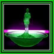 REDUCED German Art Deco Uranium Green Glass Complete 3 Part Center Piece Display Set by ...