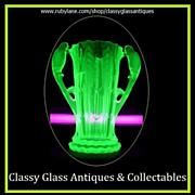 SOLD 1930s German Art Deco Uranium Glass Vase by Brockwitz.