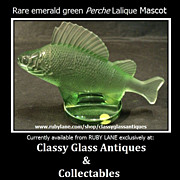 SALE Retired & Scarce Emerald Crystal Glass Perch Car Hood Mascot Paperweight by Lalique.