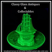 SOLD Incredible German 1930s Art Deco Press Moulded Uranium Glass Flower Set Sailing Ship Disp