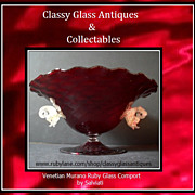 REDUCED HUGE Free - Blown Venetian Quilted Ruby Glass Center Piece Bowl Display with Dolphins