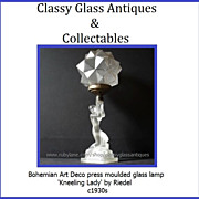 SALE PENDING COMPLETE Bohemian Art Deco Kneeling Lady glass lamp by Riedel c1930s