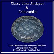 Czechoslovakian Art Deco Opalescent Glass Bowl by Josef Inwald