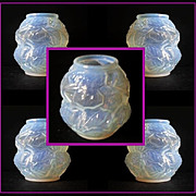 REDUCED Very Desirable French Art Deco Opalescent Glass Vase. Feuiles pattern by Carrillo c193