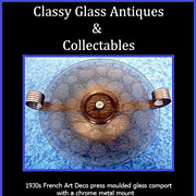 REDUCED 1930s French Art Deco Amber Glass Comport with Chrome Metal Mount