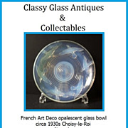 SOLD French 1930s Art Deco Choisy-le-Roi opalescent glass bowl. Signed by A. Miguel