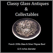 REDUCED Large French Art Deco Glass Bowl with Silver Filigree. c1930s
