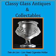 REDUCED Lalique Lion Head Crystal Glass Cigarette Holder - Tete de Lion