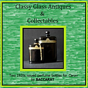 REDUCED 2 First Issue 1920s Hand Cut Black Crystal Perfume Bottles by Baccarat – Numbered &