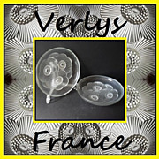 SOLD PAIR of Les Anémones Art Deco glass bowls designed by Pierre d'Avesn for Verlys France