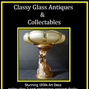 REDUCED Stunning Art Deco 2 Part Amber Glass Comport Centerpiece Display c1930